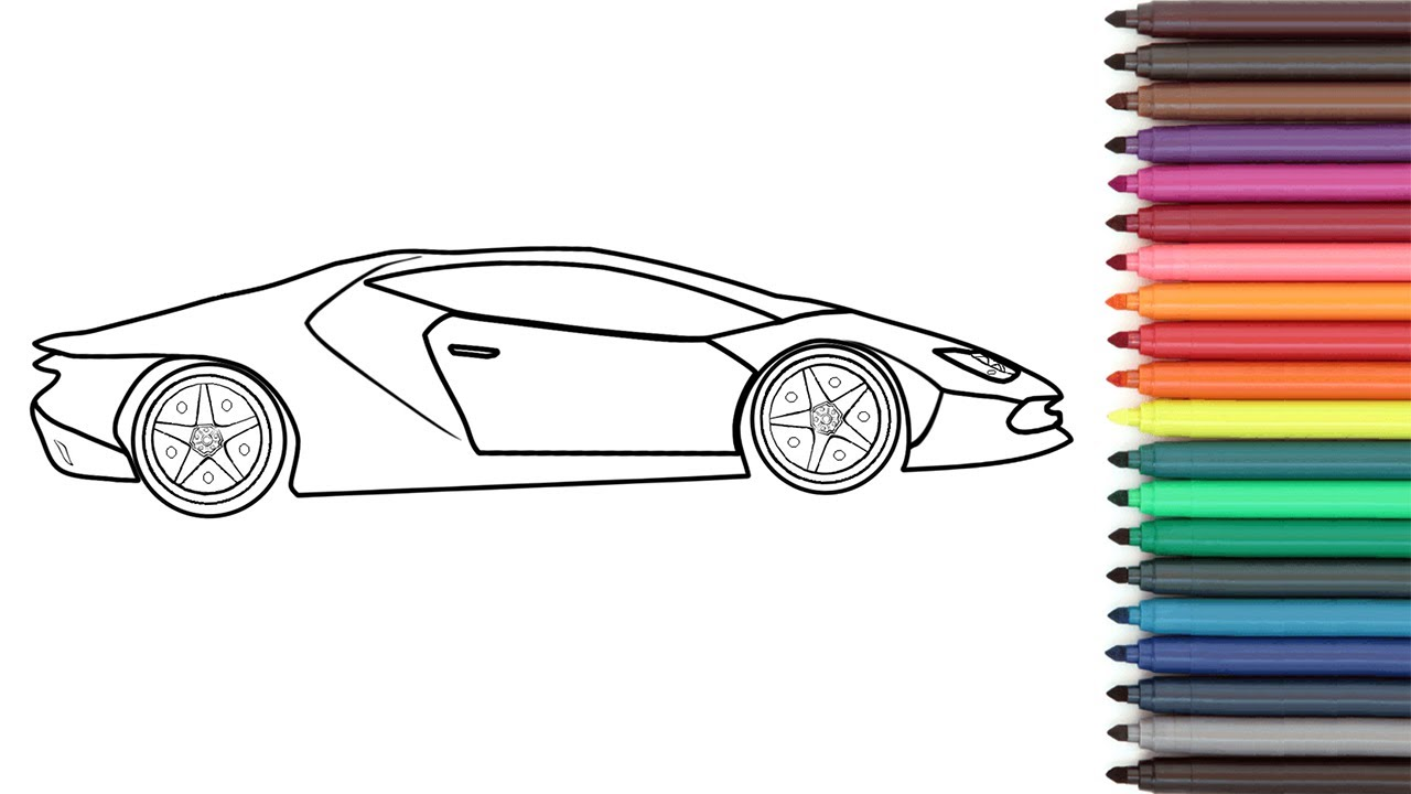 Lamborghini Coloring Page, Lamborghini Huracan Coloring step by
