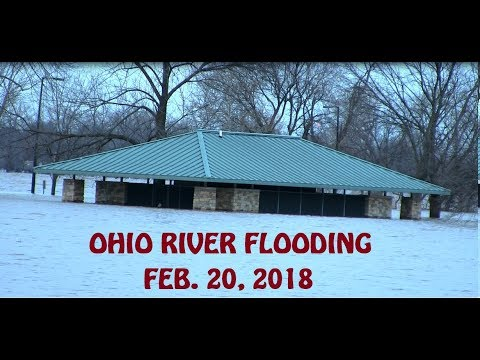 Ohio river flooding north of Downtown Louisville, KY | park is flooded