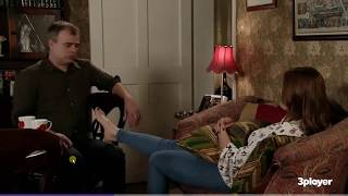Kate Ford takes her sock off and has her foot rubbed
