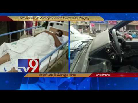 Car rams Metro Pillar, driver seriously injured - TV9
