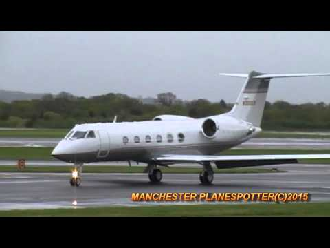 Bis Jet Private Plane Gulfstream N300CR Landing + Taxing At Manchester Airport On 07/05/2015
