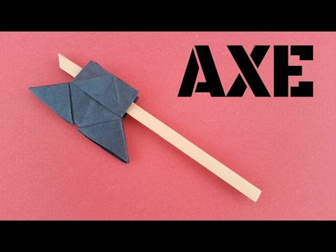 """How to make a easy Paper """"Axe"""" - Weapon Origami tutorial."""