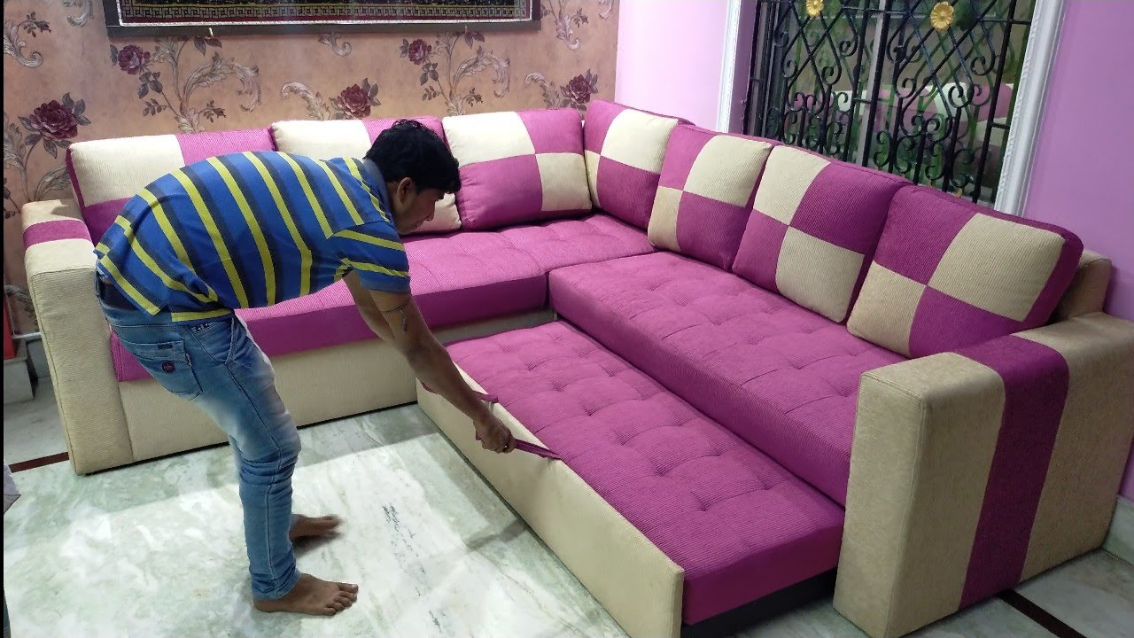 New design l shape sofa cum bed| 6/7 bed+sofa - YouTube