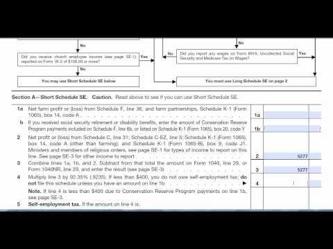Se Self Employment Form 1040 Tax Return Preparation