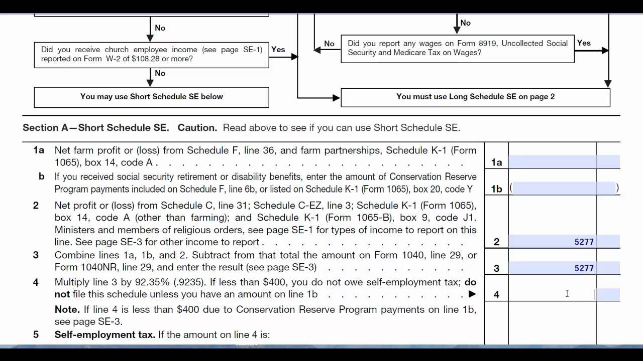 Schedule Se Self Employment Form 1040 Tax Return Preparation Youtube