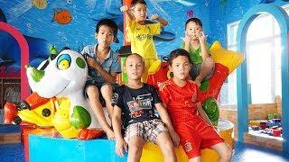 Kids go to School Pretend Play Fishing | Kids Giant Slides Indoor playground Children Song