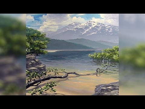 How to paint a landscape part 2 mountains background for Mural joe painting