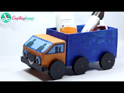 How to Make A Cardboard Kids Toy Truck with Waste Material - Best Out of Waste