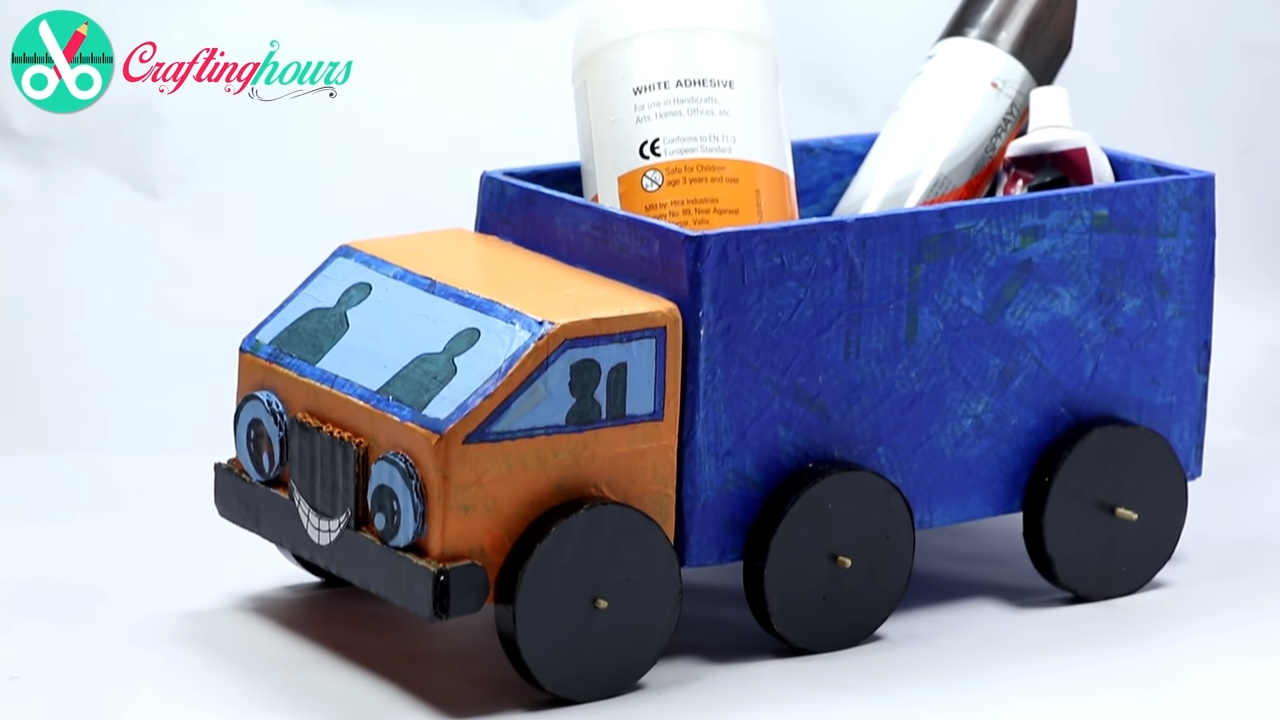 How to make a cardboard kids toy truck with waste material for Craft model with waste material