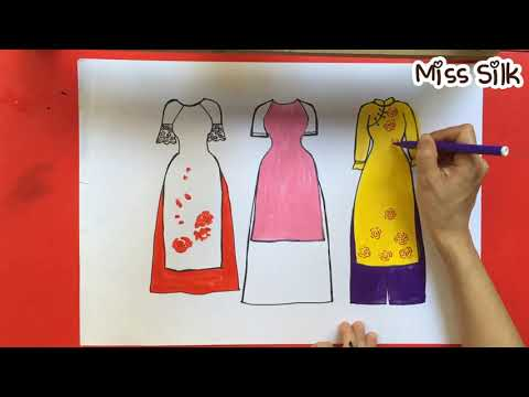 Ve ao dai Viet Nam   How to draw Vietnamese traditional long dress   Art for kids