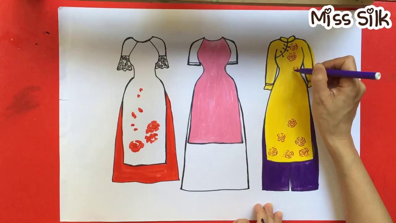 Ve ao dai Viet Nam   How to draw Vietnamese traditional long dress ...