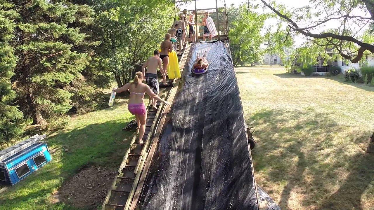 Backyard Slip 'N Slide 2015 - YouTube