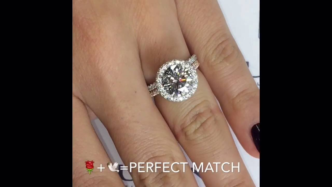 3 carat round diamond halo engagement ring - youtube