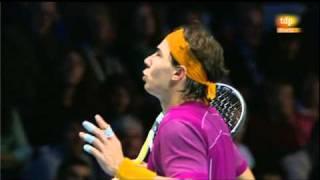 Discusión entre Rafa Nadal y el árbitro Carlos Bernardes