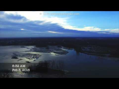 Maumee River Aerial February 3, 2016 Orleans Park Walleye Fishing Spot