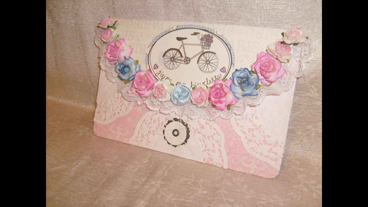 Large Button &String Envelope Fancy Floral Rose with Lace - YouTube