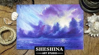 How to draw storm clouds on the sea with soft pastels 🎨 SEA