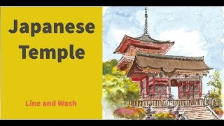 How to draw and paint a Japanese temple in line and wash
