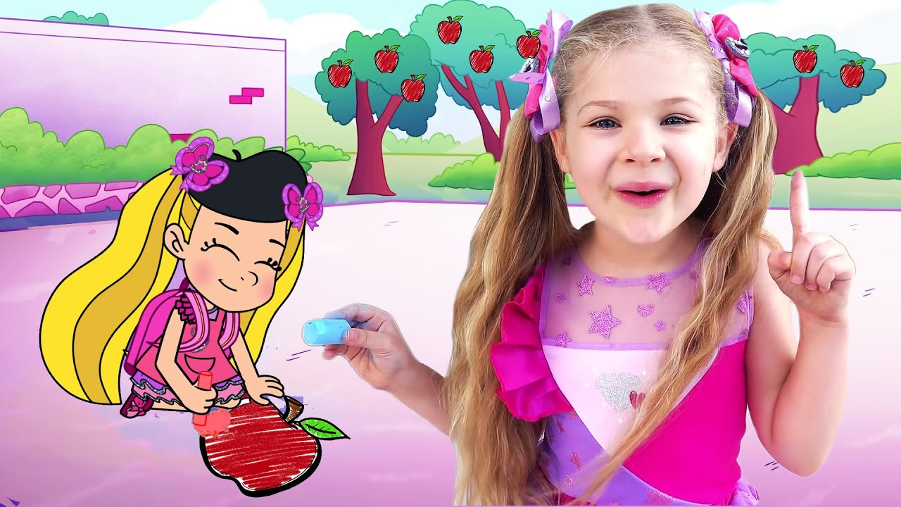 Diana and Roma Drawing Healthy Fruits and Vegetables Cartoon