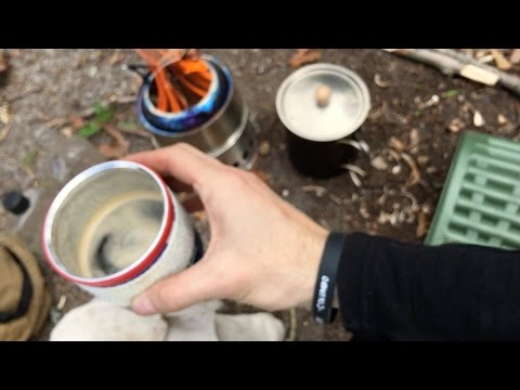 Camping- Wood Gasification Stove Bushcraft Primitive Fire Flint and Steel Coffee Vlog #46