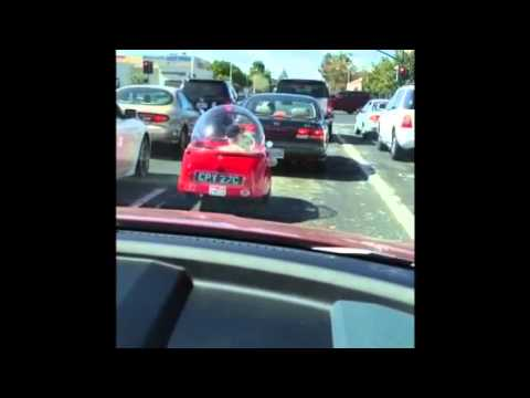 super small red bubble car