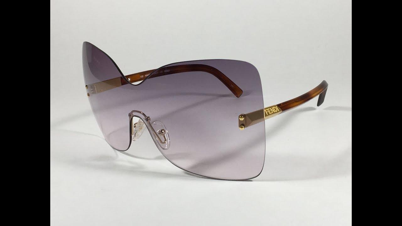 d126469a000b Fendi Runway Sunglasses Oversized Shield Butterfly Purple / Havana Frame  FS5273