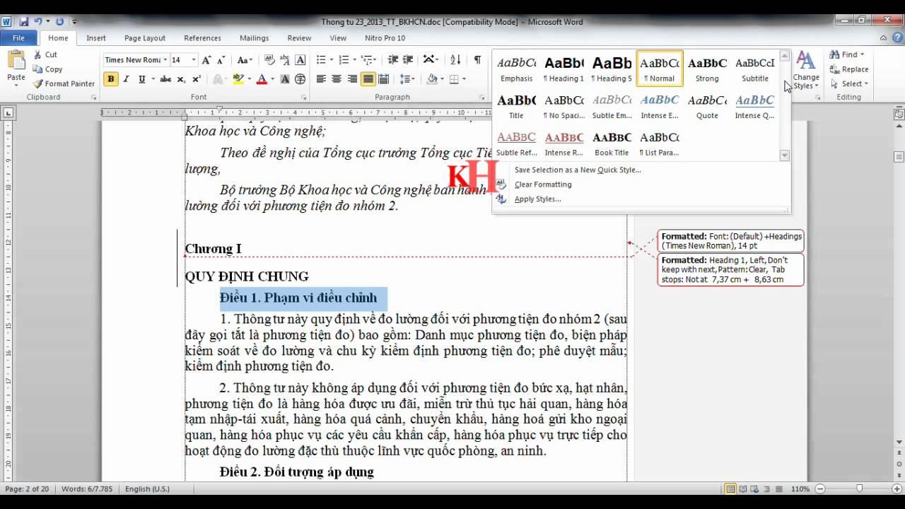 word 2010 hướng dẫn đánh số trang và tạo mục lục văn bản