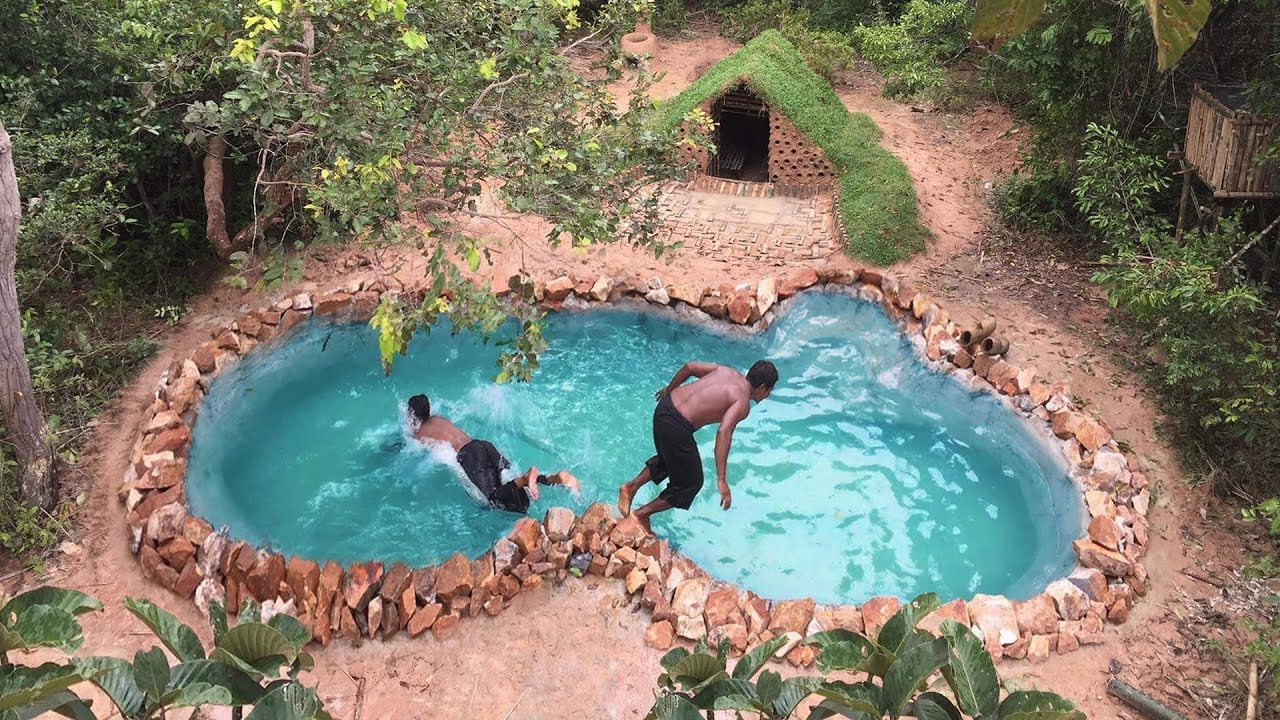 Primitive technology build underground swimming pool - How to build a swimming pool slide ...