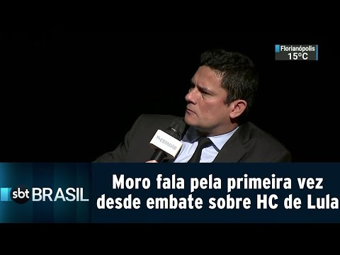 Moro fala pela primeira vez desde embate sobre habeas corpus de Lula | SBT Brasil (25/07/18)