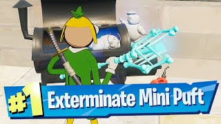 Exterminate Mini-Pufts with a Picĸaxe in Sludgy Swamp, Lazy Lake or Retail Row Location - Fortnite