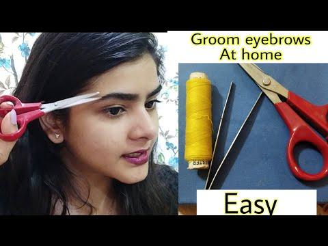 How to groom eyebrows AT HOME | Eyebrows threading | easy | Ria Das