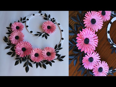 paper-flower-wall-hanging--easy-wall-decoration-ideas---paper-craft---diy-wall-decor