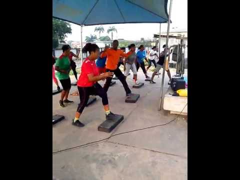 Step aerobics endurance. Energetic health club