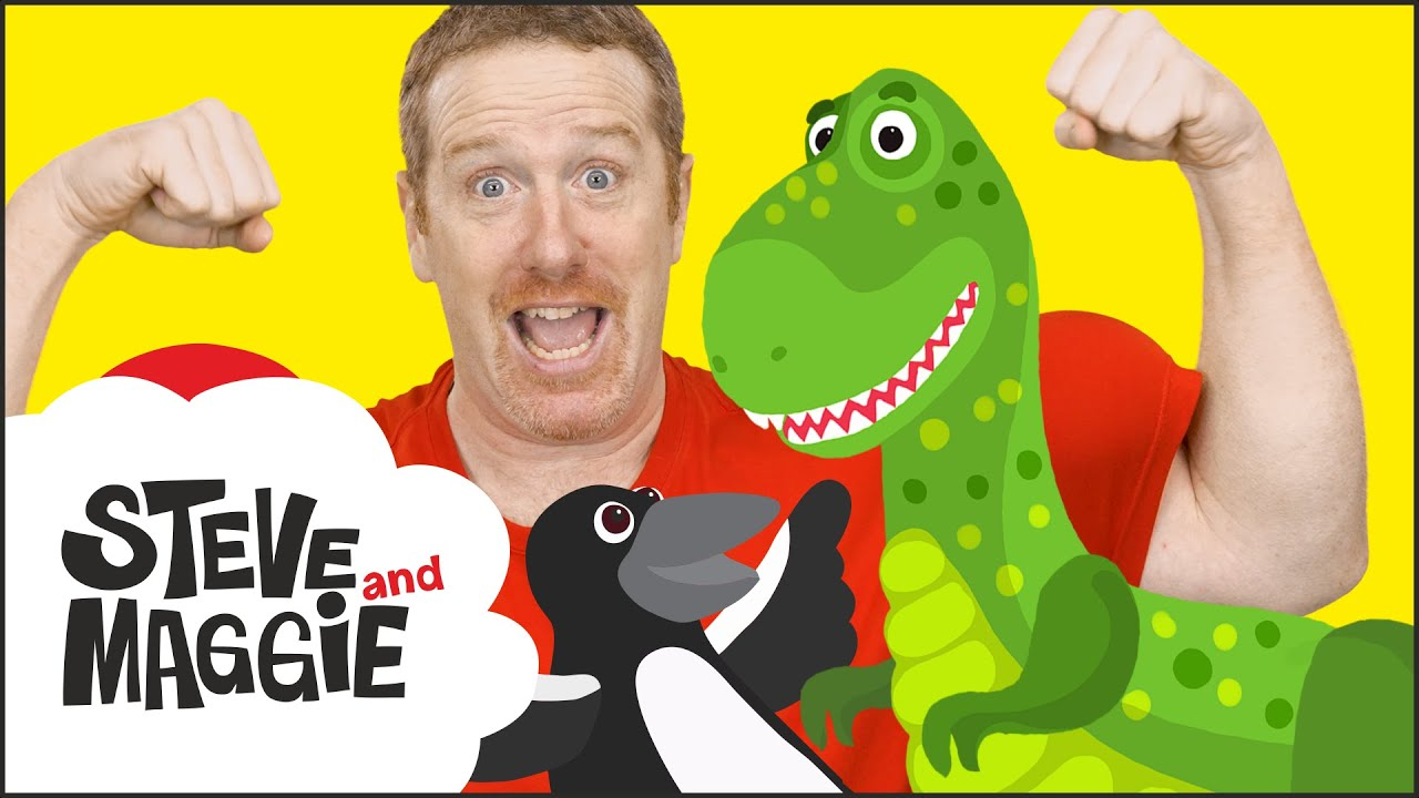 Dinosaur Hunt in Steve and Maggie´s New House for Kids | Surprise Steve and Maggie | Wow English TV