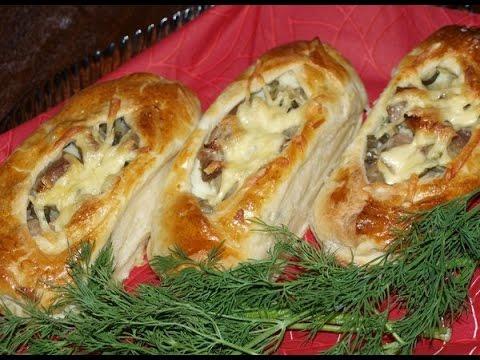 конвертики из слоеного теста с мясом и картошкой