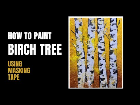 Birch Tree Abstract Painting Using Bubble Wrap And Palette Knife | 47