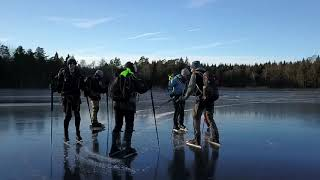 Nordic ice skating on black ice - the frozen lakes of sweden