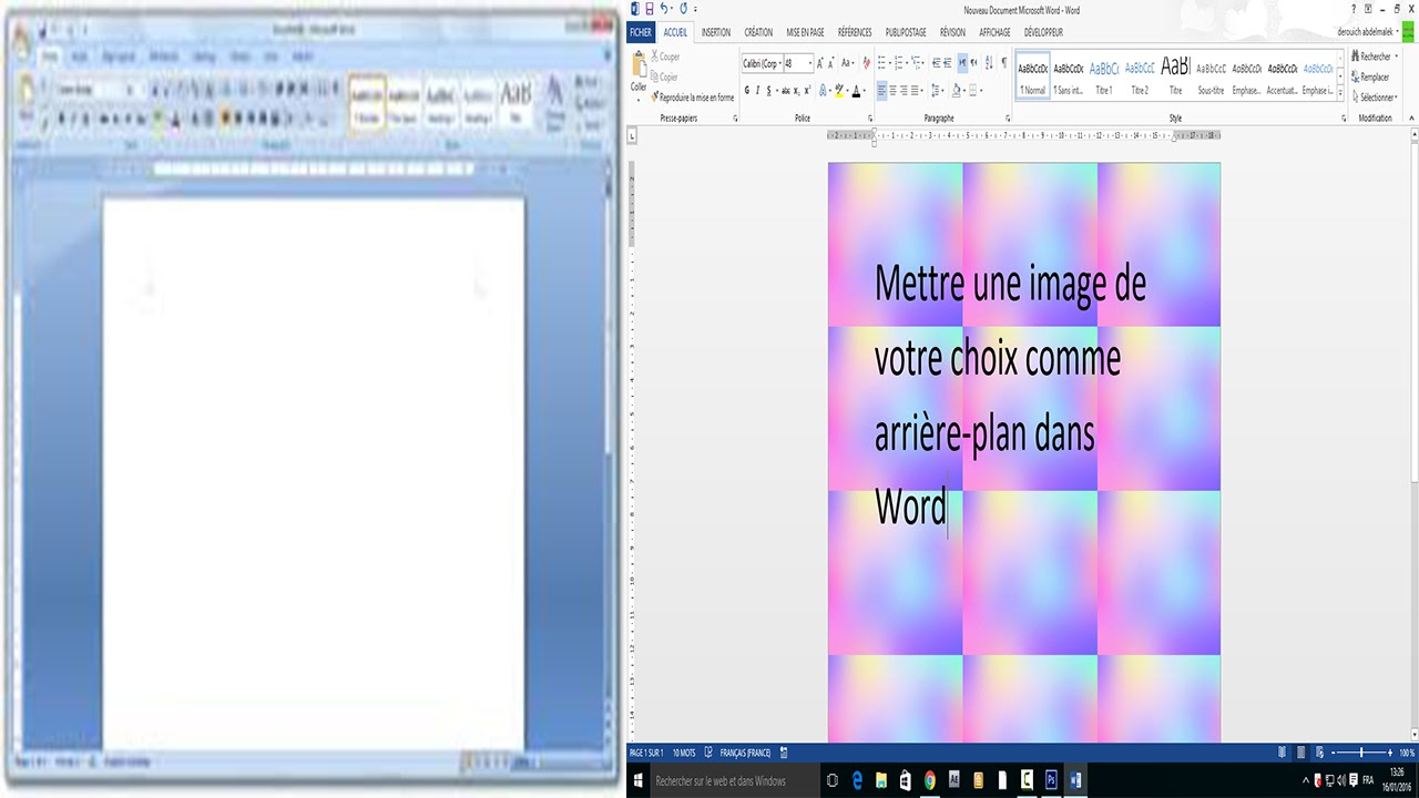 word mettre photo cv