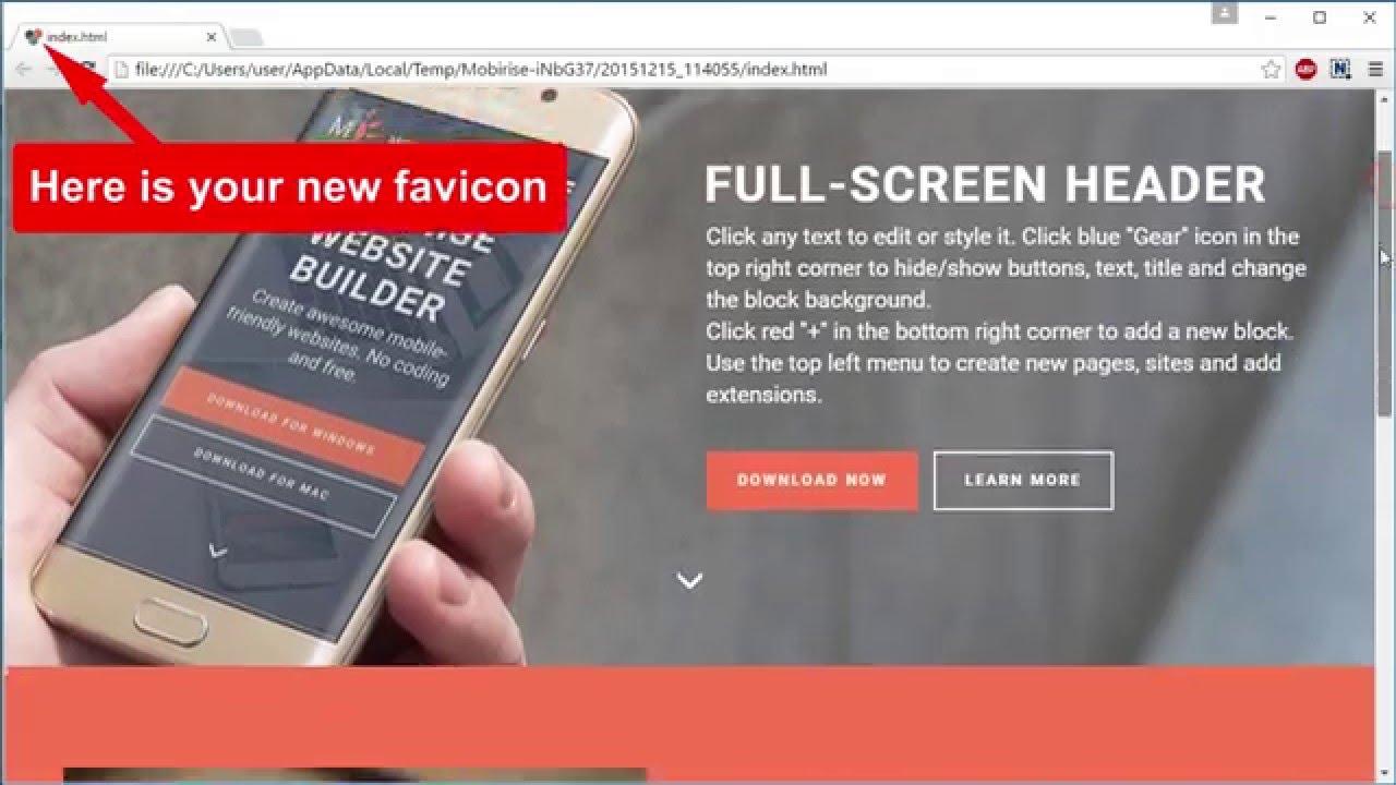 Favicon Support Mobirise Website Maker Software V2 6 Youtube