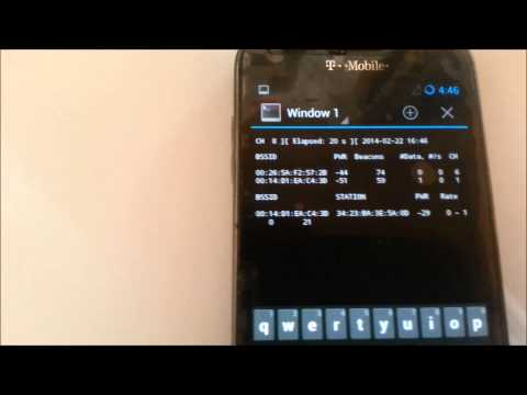 Android Galaxy S2 with monitor mode, wash, and terminal, hacking with a Smartphone and Bcmon app.