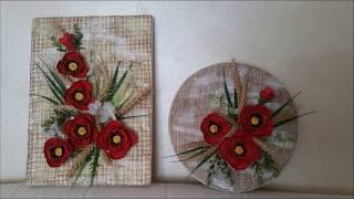 Tablou cu maci din cartoane de oua--Pictures of poppies from egg cartons