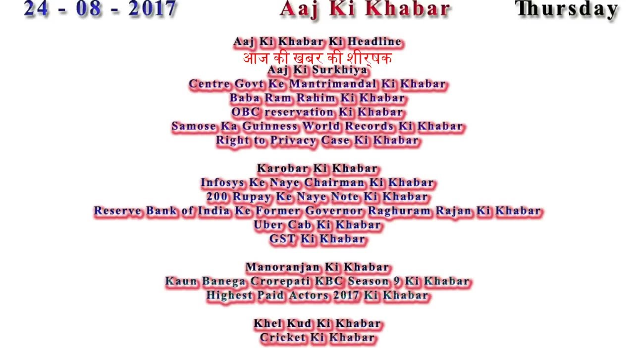 Aaj Ki Khabar 24 August 2017 Latest News in Hindi