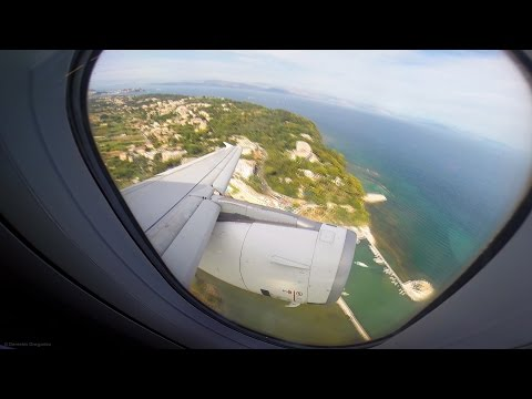 Aegean A320 - Scenic Takeoff from Corfu Island - GoPro Wing View - CFU Airport