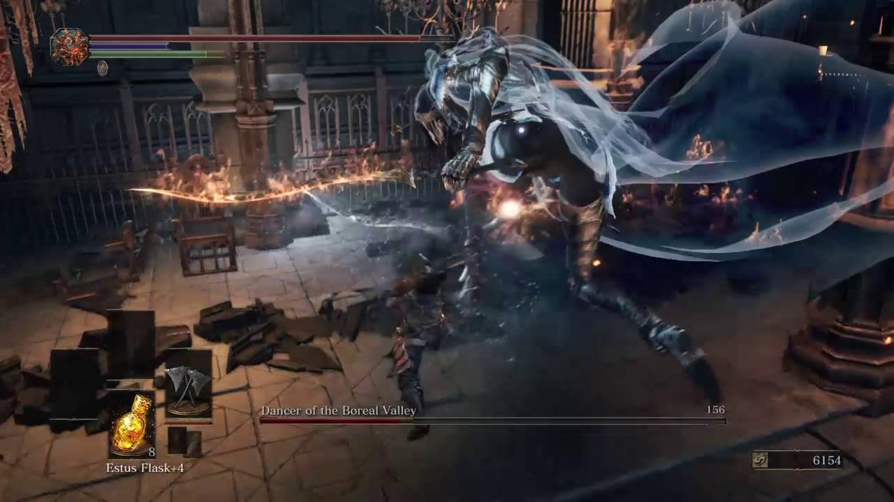 Dark Souls Iii 7 Winged Knight Twin Axes Vs Dancer Boss Youtube