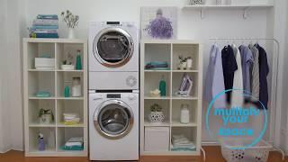 видео Установка стиральной и сушильной машины в колонну