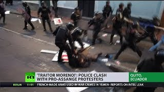'Traitor Moreno': Police clash with pro-Assange protesters