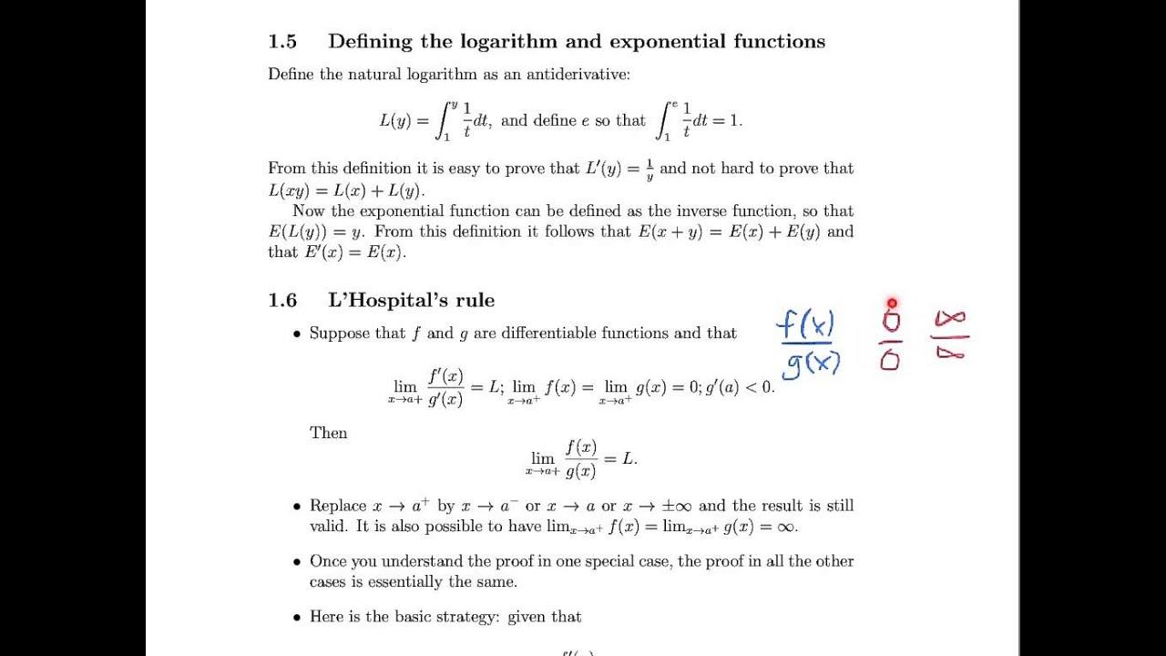 Math 23a Week 8 Video 3 Logarithms Amp Exponential