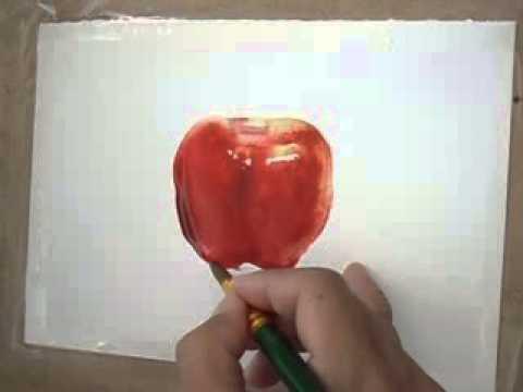 สอนสีน้ำรูปแอปเปิ้ล2