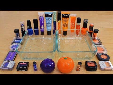 Blueberry vs Orange - Mixing Makeup Eyeshadow Into Slime Special Series 215 Satisfying Slime Video