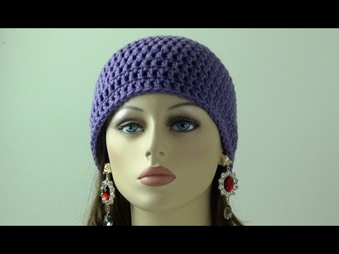 Beginner Crochet Hat Tutorial : Crochet Beanie for Beginners - Adult Sizes - YouTube